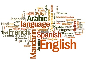 Languages of the world word cloud illustration. Word collage concept.